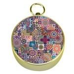 Ornamental Mosaic Background Gold Compasses Front