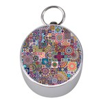 Ornamental Mosaic Background Mini Silver Compasses Front