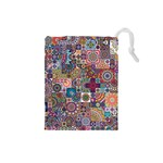 Ornamental Mosaic Background Drawstring Pouches (Small)  Front