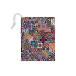 Ornamental Mosaic Background Drawstring Pouches (Small)  Back
