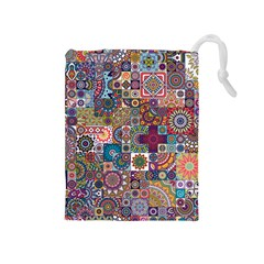 Ornamental Mosaic Background Drawstring Pouches (medium)