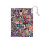 Ornamental Mosaic Background Drawstring Pouches (Medium)  Front