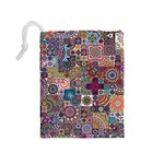 Ornamental Mosaic Background Drawstring Pouches (Medium)  Back