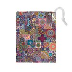 Ornamental Mosaic Background Drawstring Pouches (Large)  Front