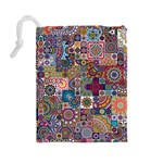 Ornamental Mosaic Background Drawstring Pouches (Large)  Back