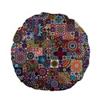 Ornamental Mosaic Background Standard 15  Premium Flano Round Cushions Front