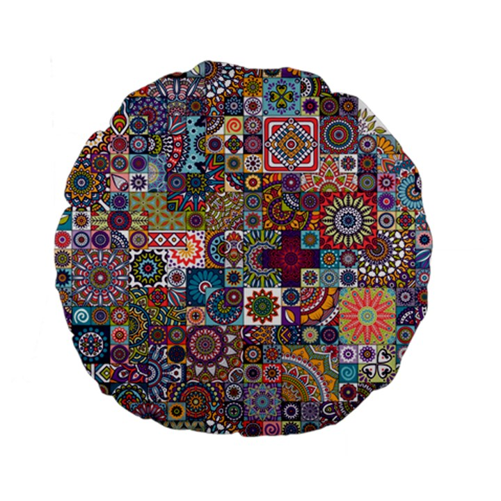 Ornamental Mosaic Background Standard 15  Premium Flano Round Cushions