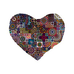 Ornamental Mosaic Background Standard 16  Premium Flano Heart Shape Cushions