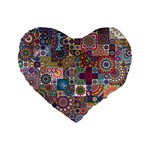Ornamental Mosaic Background Standard 16  Premium Flano Heart Shape Cushions Front