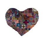 Ornamental Mosaic Background Standard 16  Premium Flano Heart Shape Cushions Back