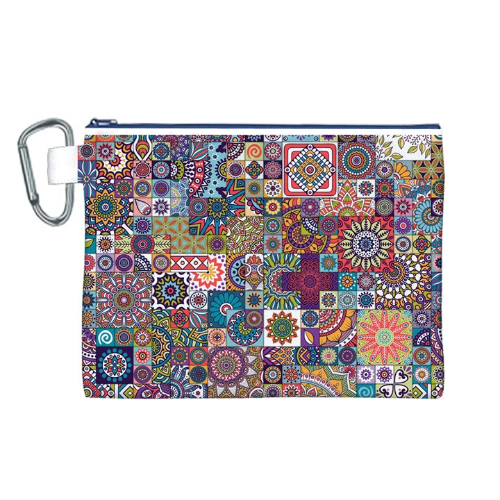 Ornamental Mosaic Background Canvas Cosmetic Bag (L)
