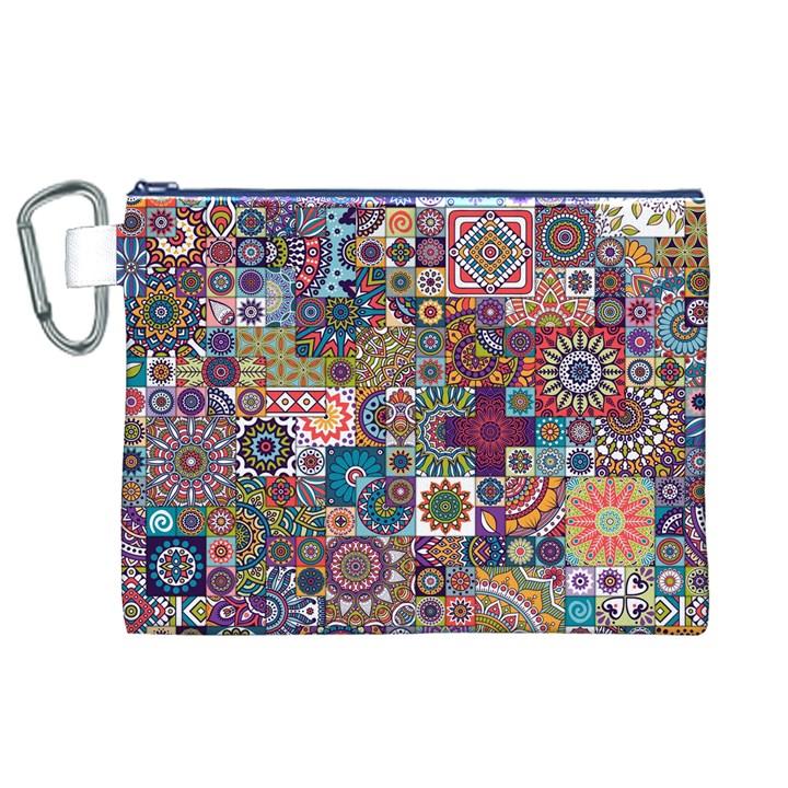 Ornamental Mosaic Background Canvas Cosmetic Bag (XL)