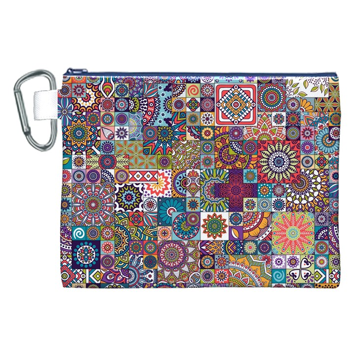 Ornamental Mosaic Background Canvas Cosmetic Bag (XXL)