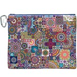 Ornamental Mosaic Background Canvas Cosmetic Bag (XXXL) Front