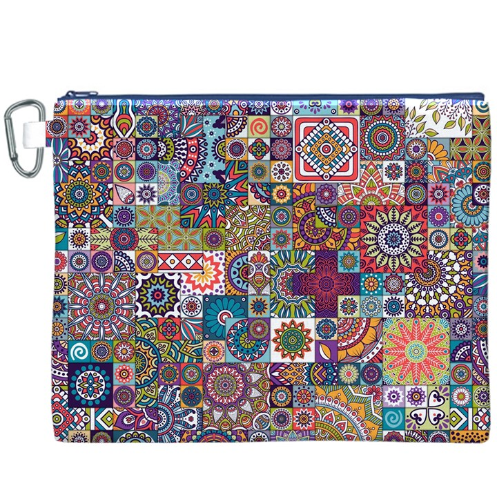 Ornamental Mosaic Background Canvas Cosmetic Bag (XXXL)