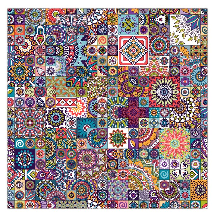 Ornamental Mosaic Background Large Satin Scarf (Square)