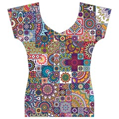 Ornamental Mosaic Background Women s V-Neck Cap Sleeve Top
