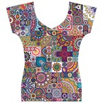 Ornamental Mosaic Background Women s V-Neck Cap Sleeve Top Front