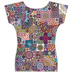 Ornamental Mosaic Background Women s V-Neck Cap Sleeve Top Back