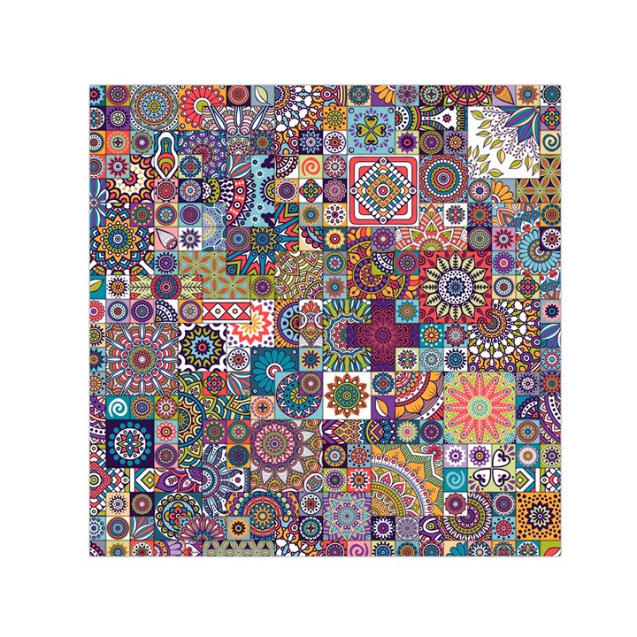 Ornamental Mosaic Background Small Satin Scarf (Square)