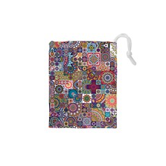 Ornamental Mosaic Background Drawstring Pouches (xs)