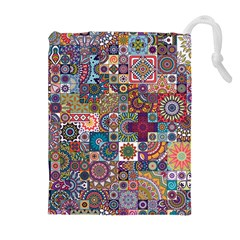 Ornamental Mosaic Background Drawstring Pouches (extra Large)