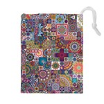 Ornamental Mosaic Background Drawstring Pouches (Extra Large) Front