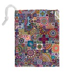 Ornamental Mosaic Background Drawstring Pouches (Extra Large) Back