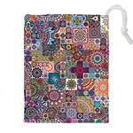 Ornamental Mosaic Background Drawstring Pouches (XXL) Front
