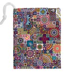 Ornamental Mosaic Background Drawstring Pouches (XXL) Back