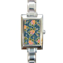 Floral Fantsy Pattern Rectangle Italian Charm Watch
