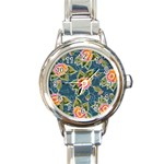 Floral Fantsy Pattern Round Italian Charm Watch Front