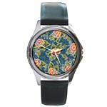 Floral Fantsy Pattern Round Metal Watch Front
