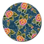 Floral Fantsy Pattern Round Mousepads Front