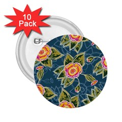 Floral Fantsy Pattern 2 25  Buttons (10 Pack)