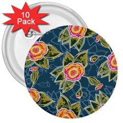 Floral Fantsy Pattern 3  Buttons (10 pack)