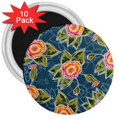 Floral Fantsy Pattern 3  Magnets (10 Pack)