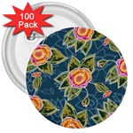 Floral Fantsy Pattern 3  Buttons (100 pack)  Front
