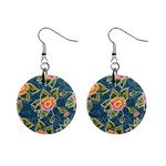 Floral Fantsy Pattern Mini Button Earrings Front