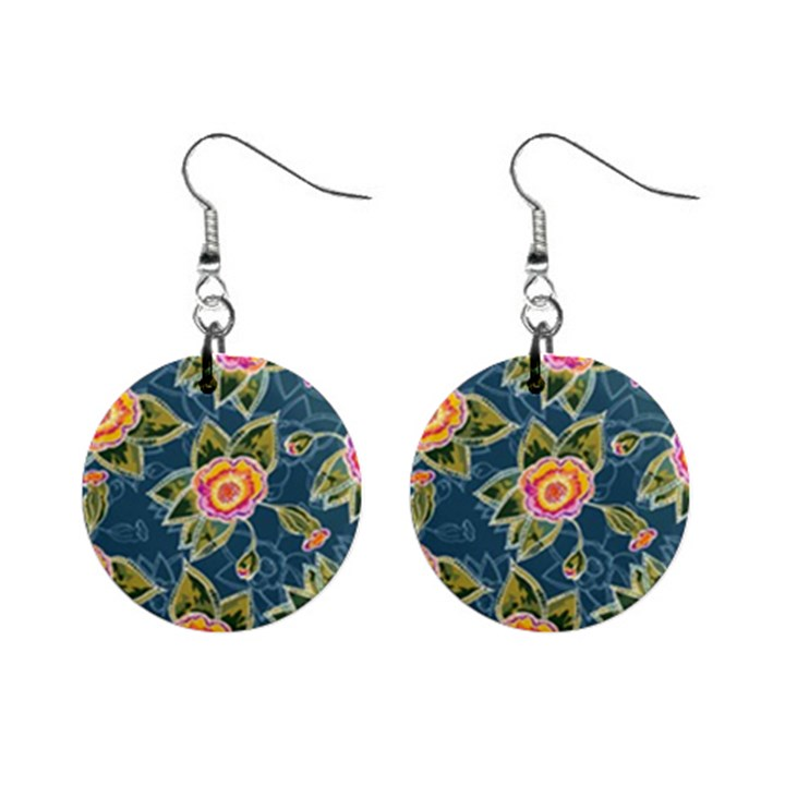 Floral Fantsy Pattern Mini Button Earrings
