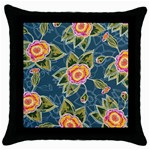 Floral Fantsy Pattern Throw Pillow Case (Black) Front
