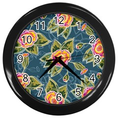 Floral Fantsy Pattern Wall Clocks (black)