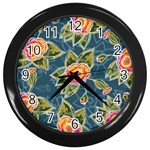 Floral Fantsy Pattern Wall Clocks (Black) Front