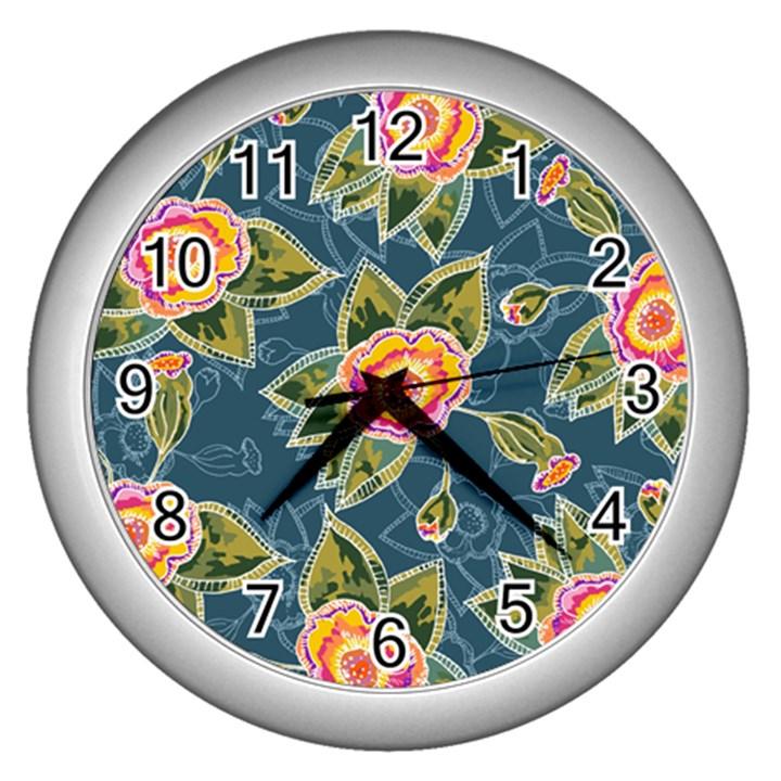 Floral Fantsy Pattern Wall Clocks (Silver)