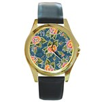 Floral Fantsy Pattern Round Gold Metal Watch Front