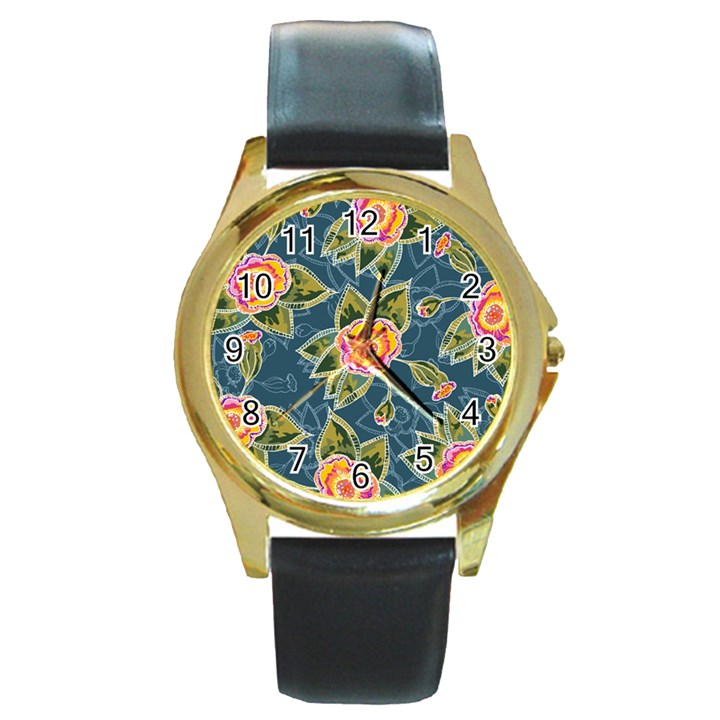 Floral Fantsy Pattern Round Gold Metal Watch
