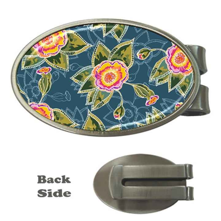 Floral Fantsy Pattern Money Clips (Oval)