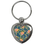 Floral Fantsy Pattern Key Chains (Heart)  Front