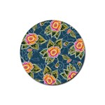 Floral Fantsy Pattern Rubber Coaster (Round)  Front