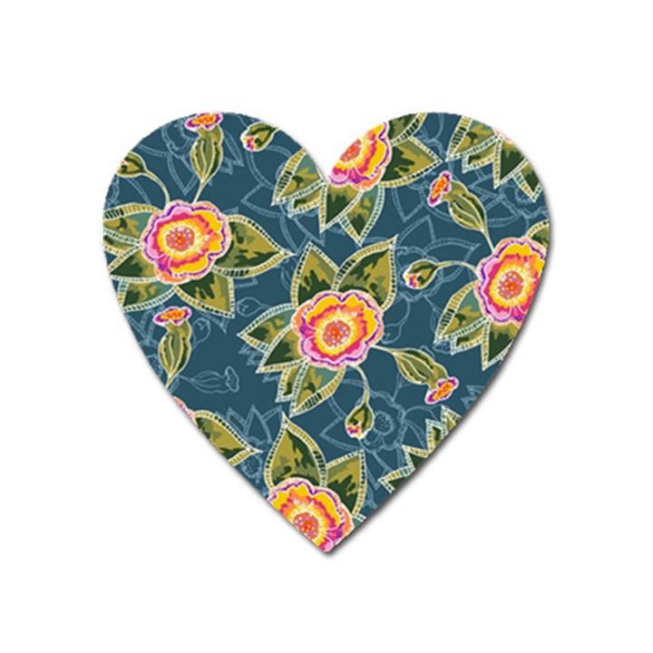 Floral Fantsy Pattern Heart Magnet
